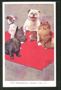Künstler-AK Lawson Wood: Englische Hunde lachen über ihren schottischen Kollegen
