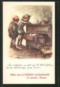 Künstler-AK Francisque Poulbot: Kleinkind schläft in der Schublade einer Kommode