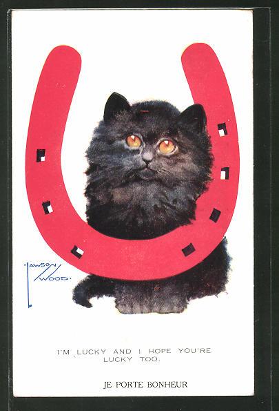 Künstler-AK Lawson Wood: Schwarze Katze und Hufeisen