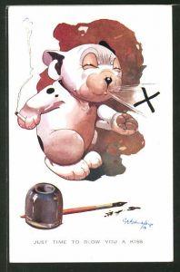 Künstler-AK George Ernest Studdy: Hund Bonzo raucht eine Zigarette