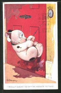 Künstler-AK George Ernest Studdy: Hund Bonzo klingelt wild an einer Türe