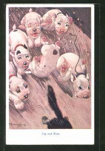Künstler-AK George Ernest Studdy: Hund Bonzo und Freunde jagen eine Katze