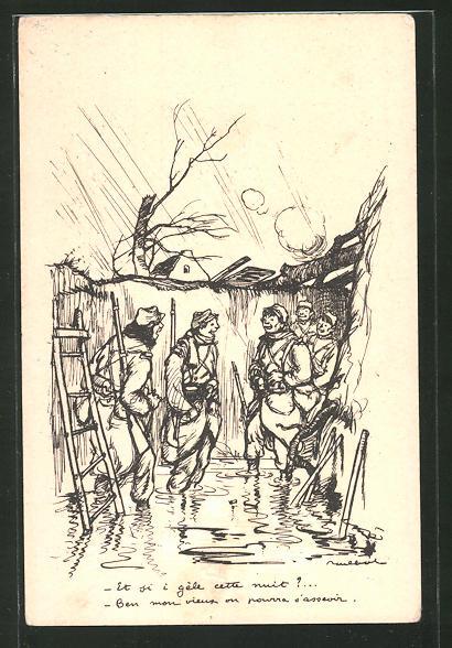 Künstler-AK Francisque Poulbot: Französische Soldaten in einem vom Regen aufgeweichten Schützengraben