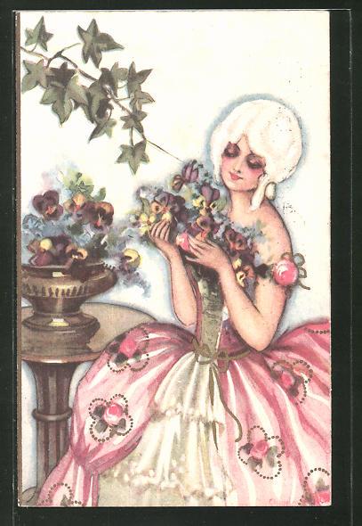 Künstler-AK Carlo Chiostri: Frau im Rokoko-Kleid mit Blumenstrauss