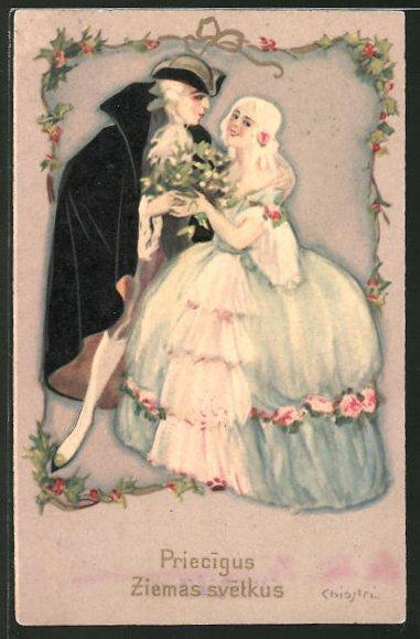 Künstler-AK Carlo Chiostri: Rokoko Liebespaar mit Blumen