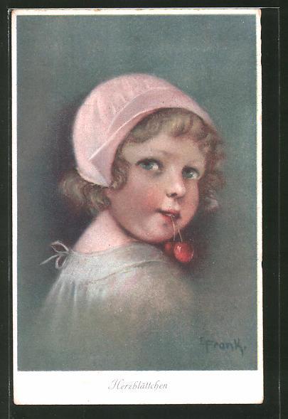 Künstler-AK Elly Frank: Herzblättchen, Kind mit Kirschen im Mund