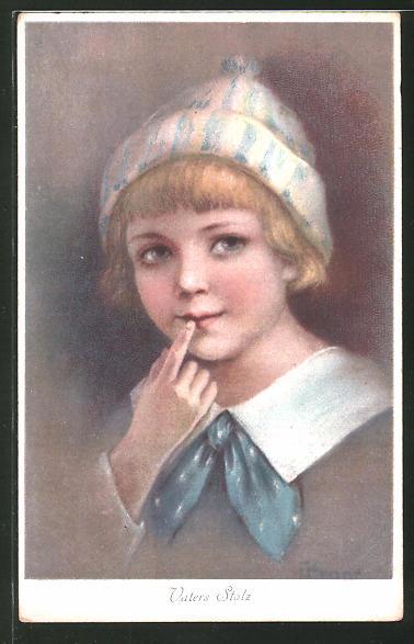 Künstler-AK Elly Frank: Vaters Stolz, Portrait Kind mit Mütze