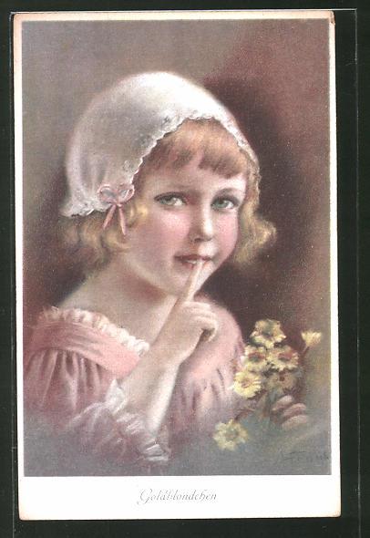 Künstler-AK Elly Frank: Goldblondchen, Kind mit Häubchen und Blumen