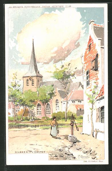 Künstler-AK F. Ranot: Dilbeek, L' Eglise, Malerische Dorfszene mit Kirche und Brunnen