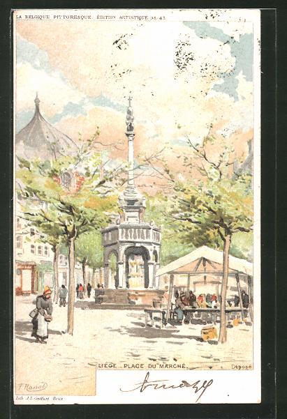 Künstler-AK F. Ranot: Liége, Place du Marché, Blick auf den Marktplatz