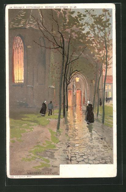 Künstler-AK F. Ranot: Nieuport, L' Eglise, Partie an der Kirche