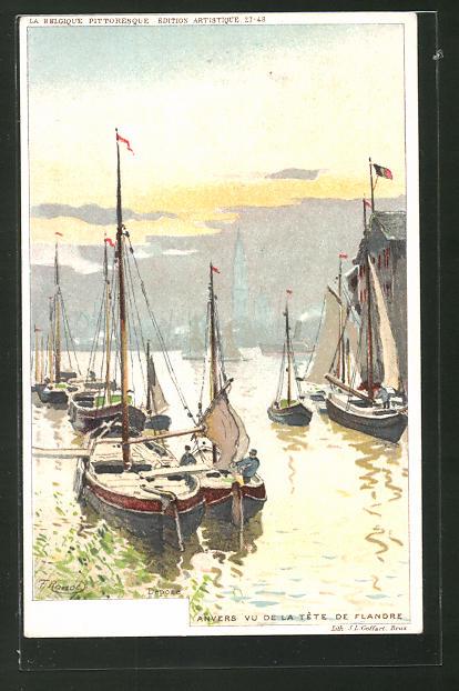 Künstler-AK F. Ranot: Anvers, Vu de la tête de Flandre, Blick auf den Hafen mit Booten
