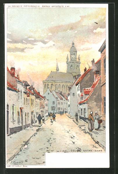 Künstler-AK F. Ranot: Hal, Église Notre-Dame, Ortspartie mit Blick auf die Kirche Notre-Dame