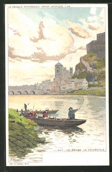 Künstler-AK F. Ranot: Huy, La Meuse la Collégiale, Flusspartie mit Booten