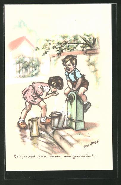 Künstler-AK Germaine Bouret: Kinder beim Trinken aus dem Strassenbrunnen