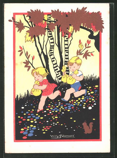 Künstler-AK Willy Schermele: Hänsel und Gretel rennen mit Beuteln davon