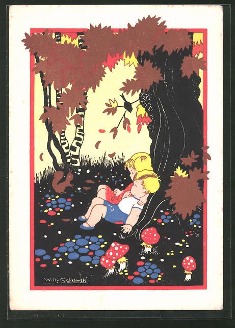 Künstler-AK Willy Schermele: Hänsel und Gretel ruhen sich aus
