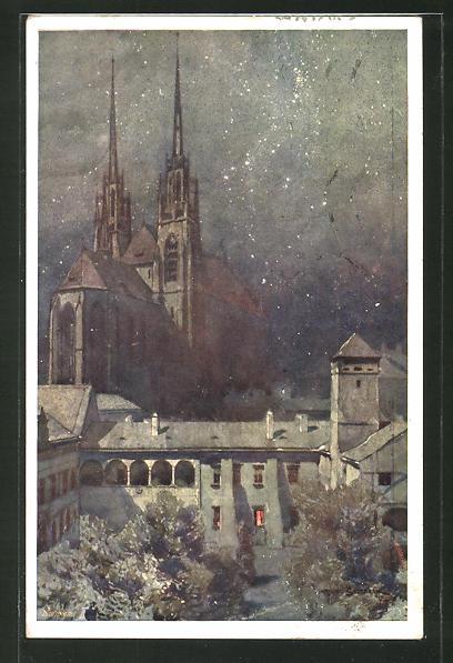 Künstler-AK Jaroslav Setelik: Brünn, Dom und Finanzmuseum