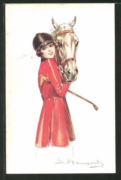 Künstler-AK Sergio Bompard: Frau mit Pferd