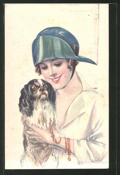Künstler-AK Sergio Bompard: junge Frau mit Hund