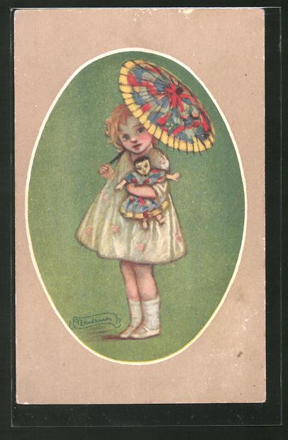 Künstler-AK A. Zandrino: kleines Mädchen mit Schirm und Puppe