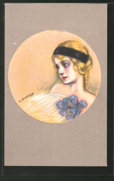Künstler-AK A. Zandrino: junge Frau mit Haarband