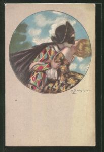 Künstler-AK A. Zandrino: Mann mit Maske und Umhang küsst Frau