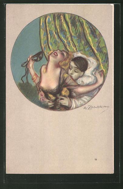 Künstler-AK A. Zandrino: junge Frau wird vom Mann umarmt