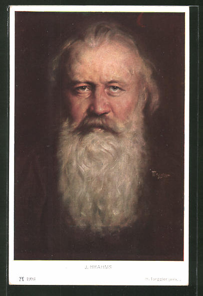 Künstler-AK Hermann Torggler: Portrait von J. Brahms