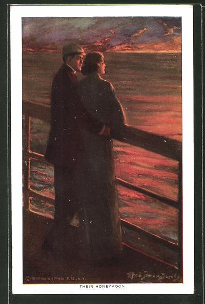 Künstler-AK Alfred James Dewey: Paar beim Sonnenuntergang