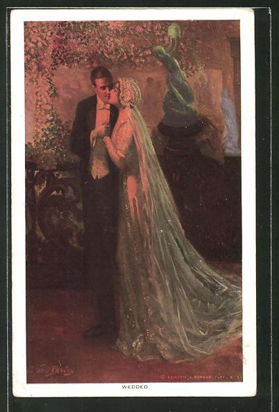 Künstler-AK Alfred James Dewey: Paar küsst sich