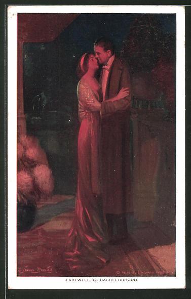 Künstler-AK Alfred James Dewey: Paar umarmt sich