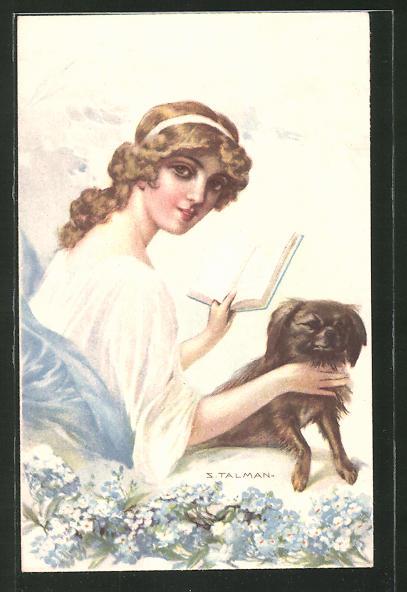 Künstler-AK sign. S. Talmann: junge Frau mit Buch und Hund