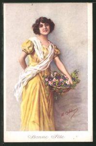 Künstler-AK sign. W. Castelmann: junge Frau mit Blumenkorb