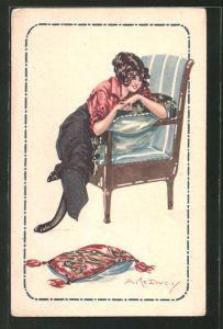 Künstler-AK sign. A. Le Ducy: junge Frau sitzt auf einem Sessel