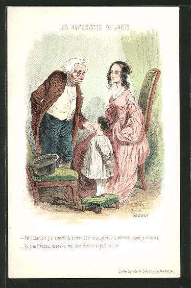 Künstler-AK sign. Paul Gavarni: Les Humoristes de Jadis, alter Mann mit Frau und Kind