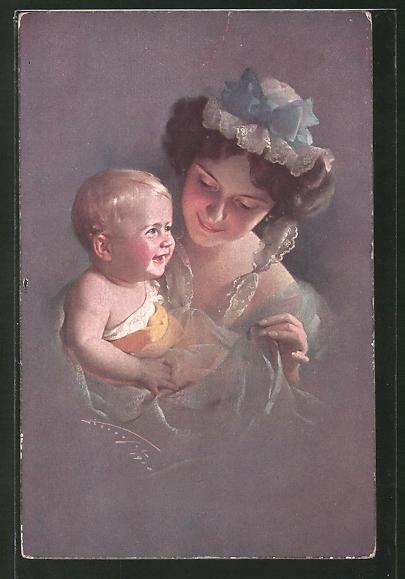 Künstler-AK Ludwig Knoefel: Frau in blauem Kleid mit lachenden Baby im Arm