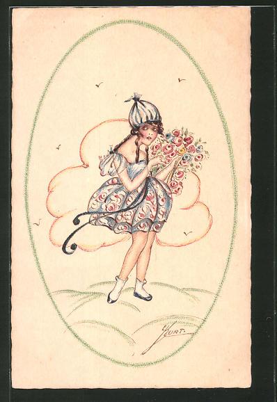 Künstler-AK Erna Maison-Kurt: Mädchen in blauem Kleid mit Blumen vor einer Wolke