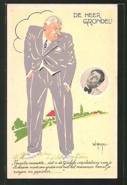 Künstler-AK W. Heskes: De Heer Grondel, Alter Herr mit Zigarre wirft einem Mann grimmigen Blick zu