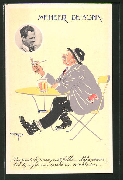 Künstler-AK W. Heskes: Meneer Debonk, Zwei Männer mit Bier und Pfeife werfen sich erstaunte Blicke zu
