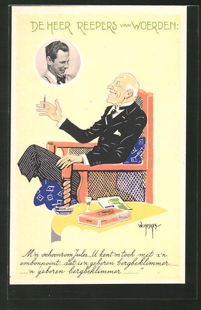 Künstler-AK W. Heskes: De Heer Reepers van Woerden, Alter Mann im Anzug mit Zigarette und Likör grüsst anderen Mann