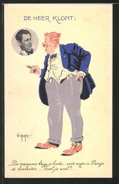 Künstler-AK W. Heskes: De Heer Klont, Mann in blauem Jackett und Zigarre lacht anderem Mann zu