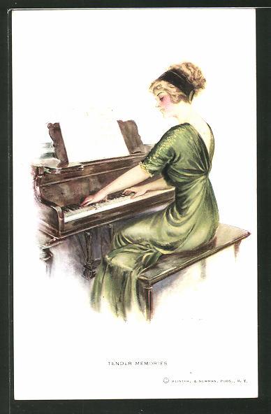Künstler-AK F. Earl Christy: Tender Memories, Frau in grünem Kleid spielt Klavier