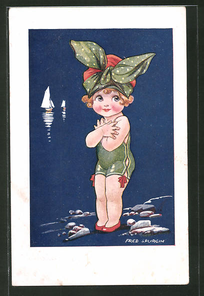 Künstler-AK Fred Spurgin: Mädchen in Badeanzug