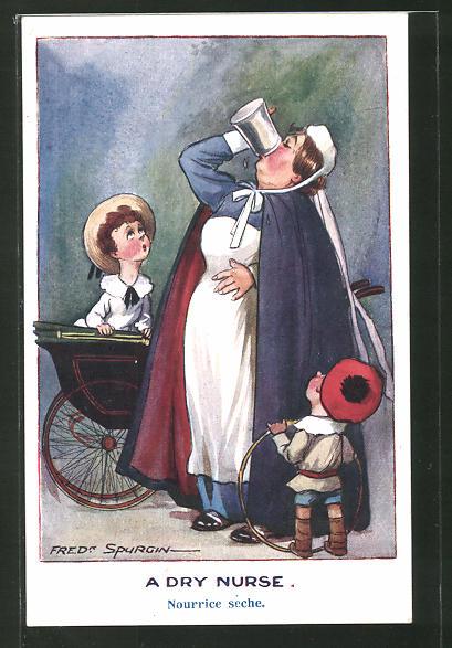 Künstler-AK Fred Spurgin: A dry Nurse, durstiges Kindermädchen