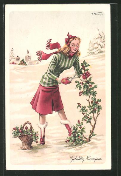 Künstler-AK Steen: Gelukkig Nieuwjaar, Mädchen schneidet Stechpalme