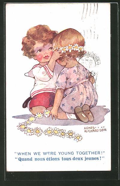 Künstler-AK Agnes Richardson: Junge setzt seiner Liebsten einen Blumenkranz auf