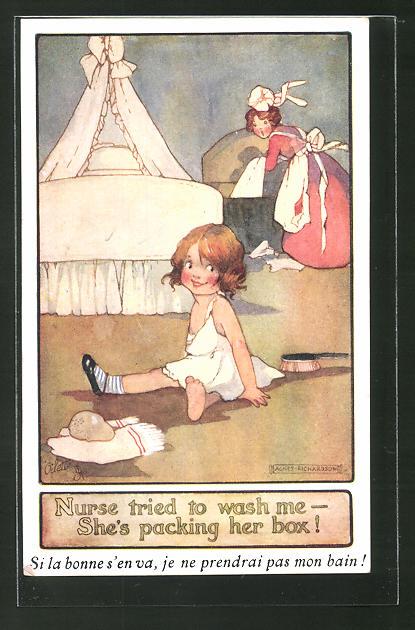 Künstler-AK Agnes Richardson: Mädchen sitzt vor ihrem Bett, Dienstmädchen
