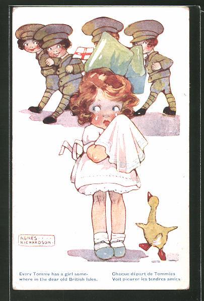 Künstler-AK Agnes Richardson: Mädchen weint, Soldaten