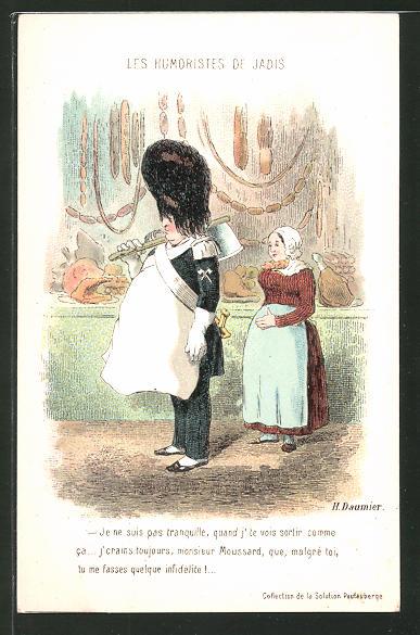Künstler-AK sign. Honore Daumier: Les Humoristes de jadis, Dicker Soldat mit Schlachterschürze